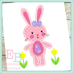 Bunny with Tulips Applique, Applique