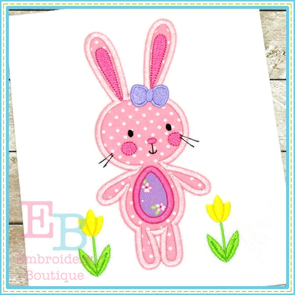 Bunny with Tulips Applique