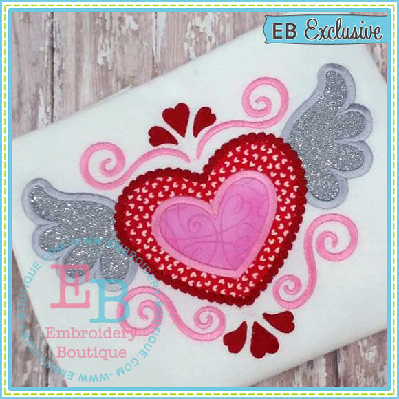 Flourish Heart with Wings Applique