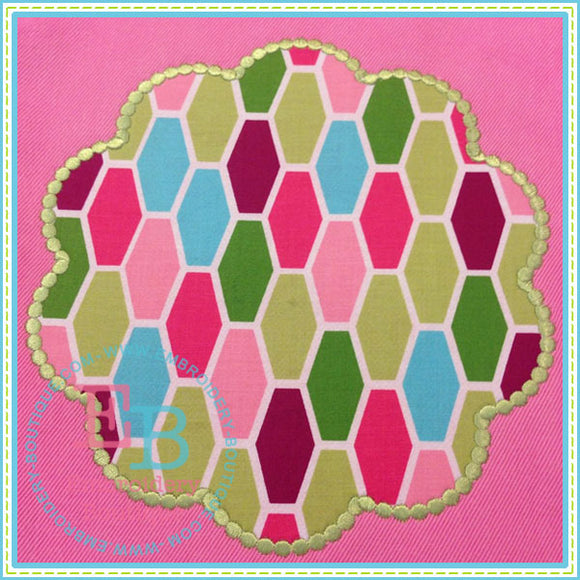 Dotted Scalloped Circle Patch, Applique