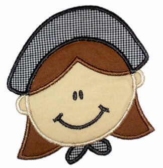 Pilgrim Girl Applique - embroidery-boutique