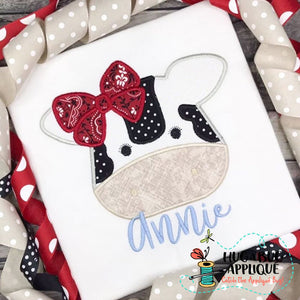 Cow Bow Satin Stitch Applique Design, Applique