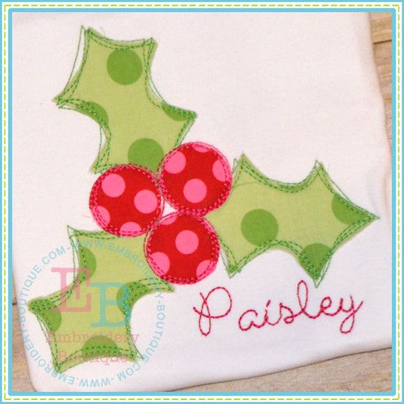 Scribble Holly Applique, Applique