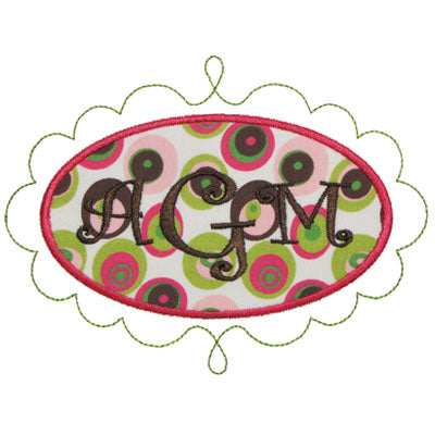 Chic Oval Monogram Frame Applique - embroidery-boutique