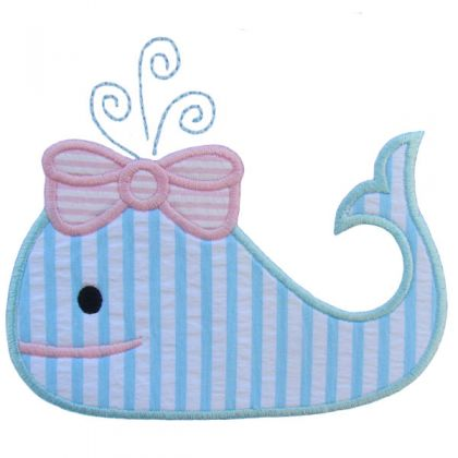 Girl Whale Applique - embroidery-boutique