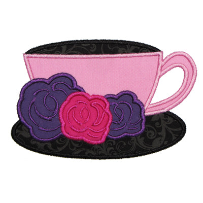 French Tea Cup Applique - embroidery-boutique