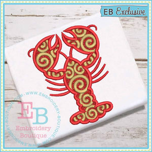 Swirly Crawfish Applique - embroidery-boutique