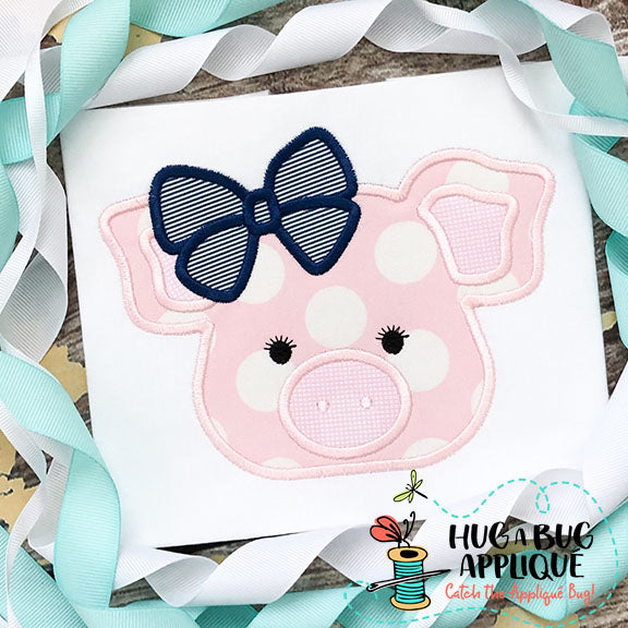 Pig Bow Satin Stitch Applique Design, Applique