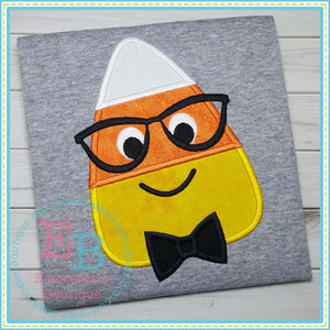 Candy Corn Boy with Glasses Applique
