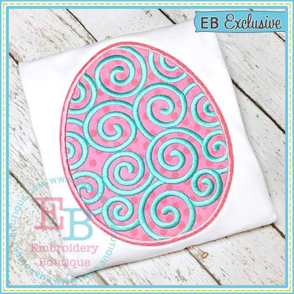 Swirly Easter Egg Applique, Applique