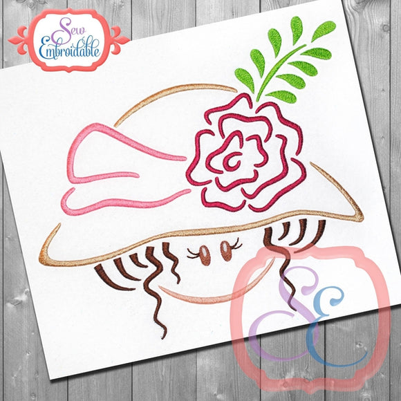 Hat Girl 3 Embroidery Design, Embroidery