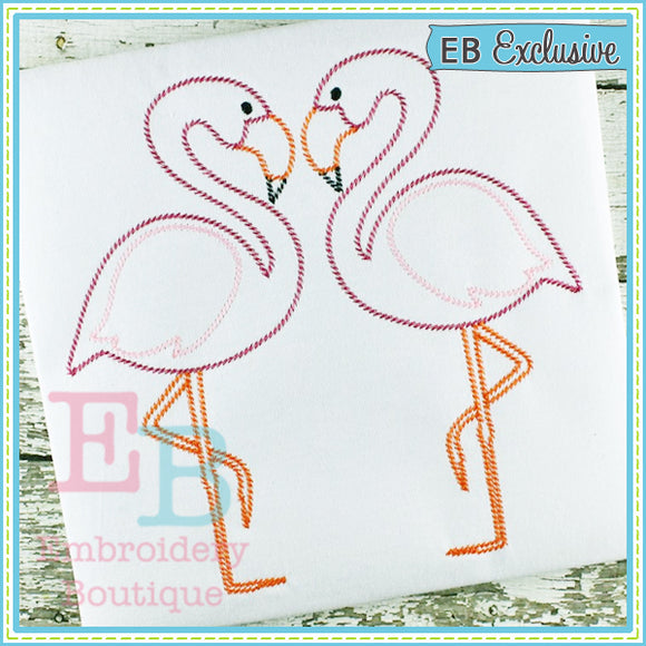 Sketch Flamingos - embroidery-boutique