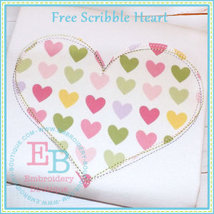 Scribble Heart Applique, Applique