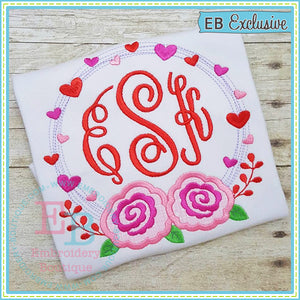 Heart Wreath Roses Applique - embroidery-boutique