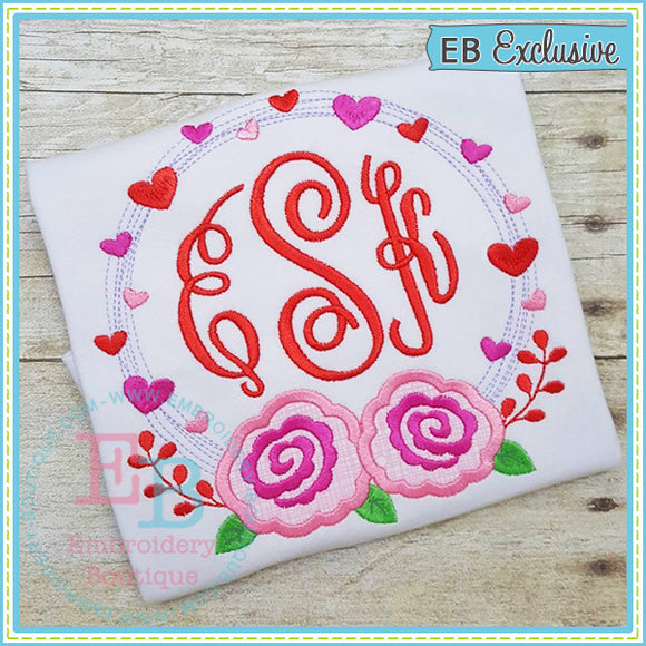 Heart Wreath Roses Applique