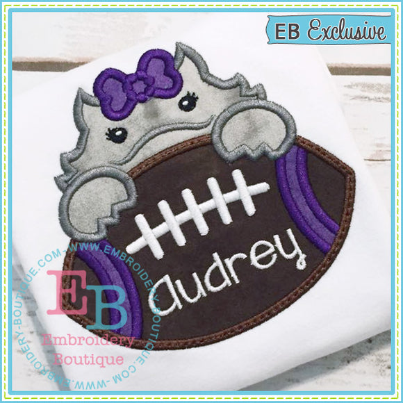 Football Horned Frog Girl Applique, Applique