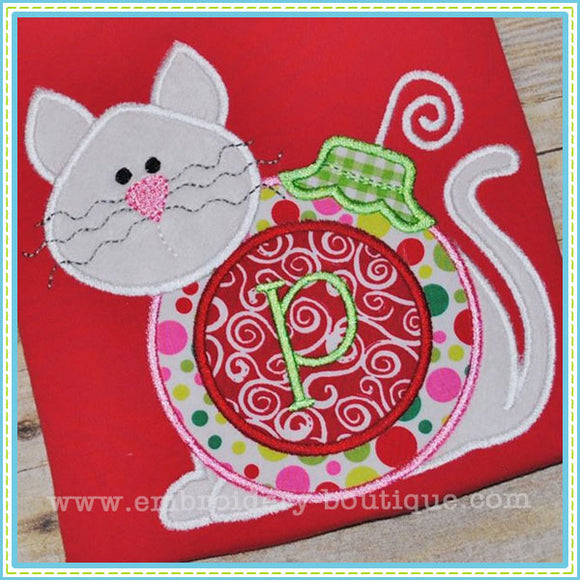 Monogrammed Ornament Kitty Applique