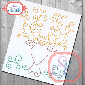 Stag Swirl Bean Embroidery Design - embroidery-boutique