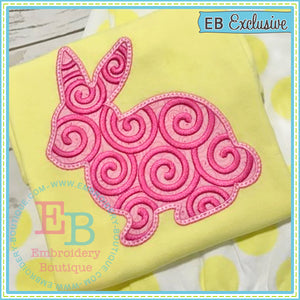 Swirl Bunny Applique - embroidery-boutique
