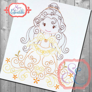 Swirly Princess 5 Embroidery Design
