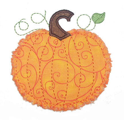 Raggy Pumpkin Applique - embroidery-boutique