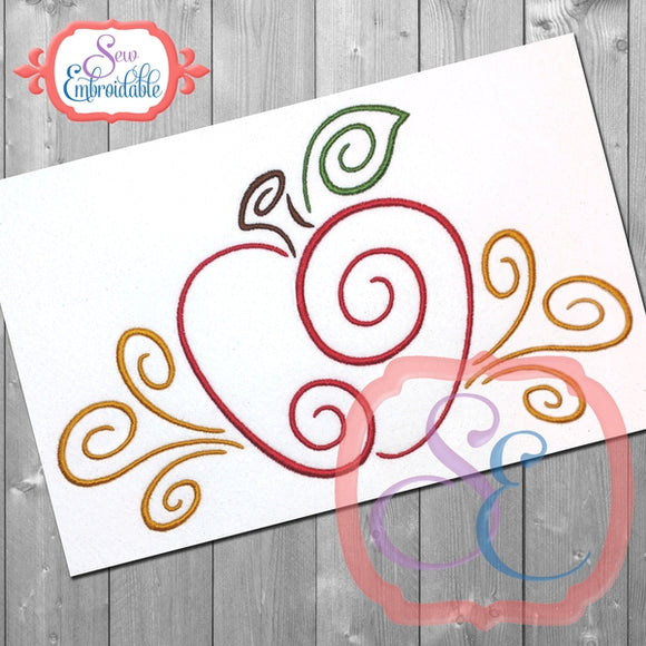 Apple Swirls Embroidery Design, Embroidery