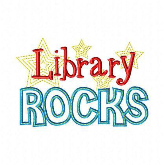Library Rocks - embroidery-boutique