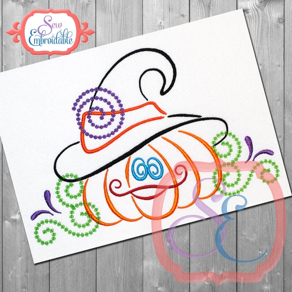Witchy Pumpkin Swirls Embroidery Design, Embroidery