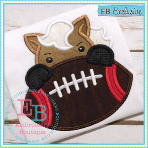 Football Mustang Boy Applique, Applique