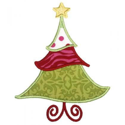 Jolly Christmas Tree Applique - embroidery-boutique