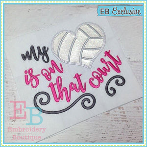 My Heart on Court Volleyball Applique