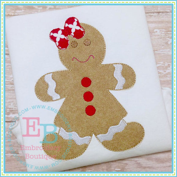 Scribbles Gingerbread Girl Applique, Applique