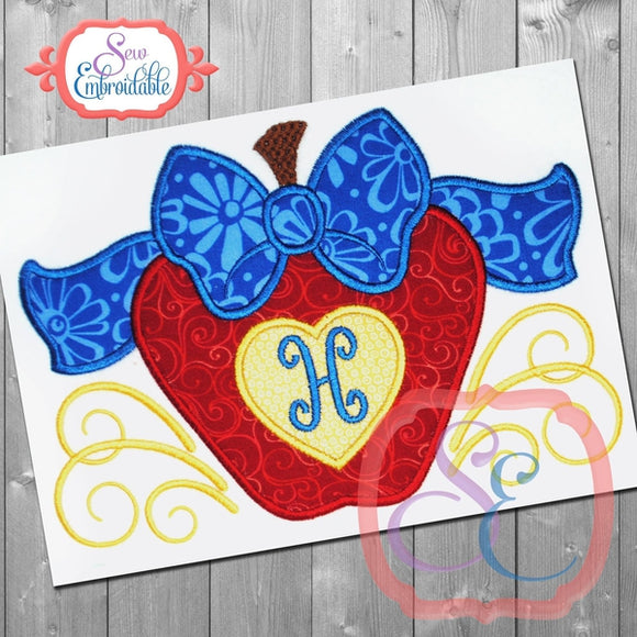 Big Bow Apple Applique - embroidery-boutique