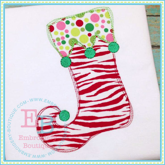 Scribble Whimsy Stocking Applique, Applique