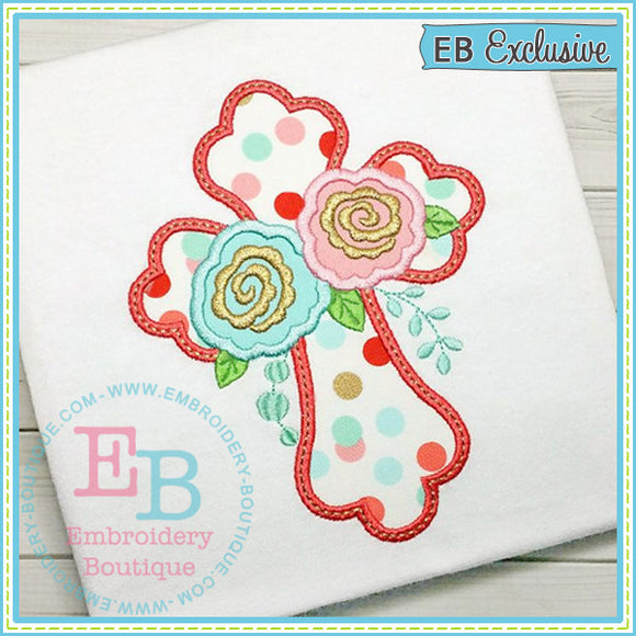 Roses Cross Applique - embroidery-boutique