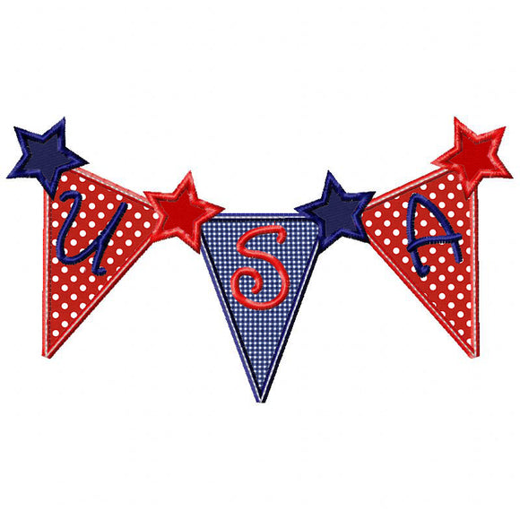 USA Bunting Applique - embroidery-boutique