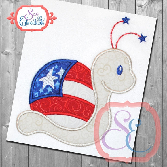 4th of July Snail Applique, Applique