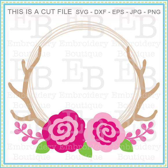 Roses Antler Wreath SVG