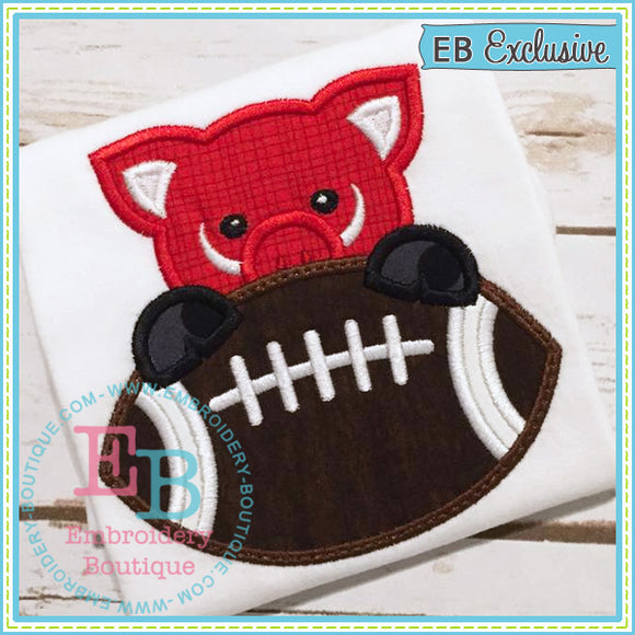 Football Pig Boy Applique, Applique
