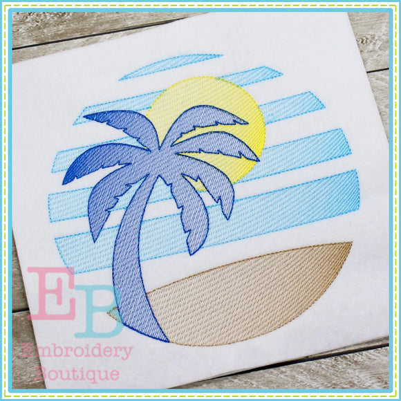 Palm Tree Sun Design, Applique