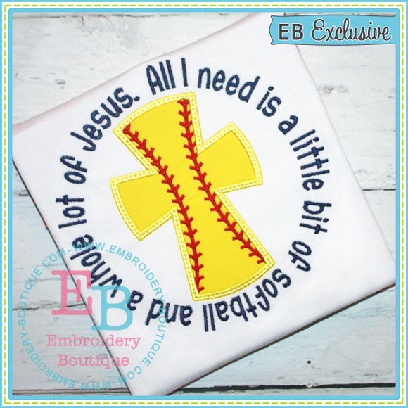Softball Jesus Applique - embroidery-boutique