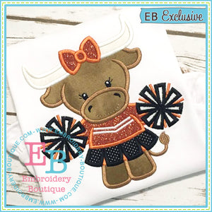 Girl Longhorn Mascot Applique