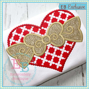 Dotted Heart with Bow Applique, Applique