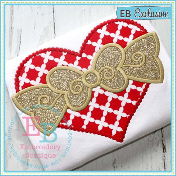 Dotted Heart with Bow Applique - embroidery-boutique
