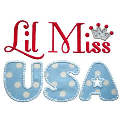 Lil Miss USA Applique - embroidery-boutique