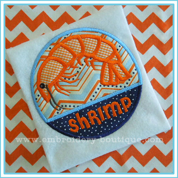 Shrimp Patch Applique, Applique