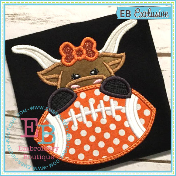 Football Longhorn Girl Applique, Applique