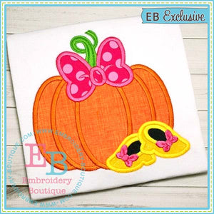 Pumpkin Bow Shoes Applique - embroidery-boutique