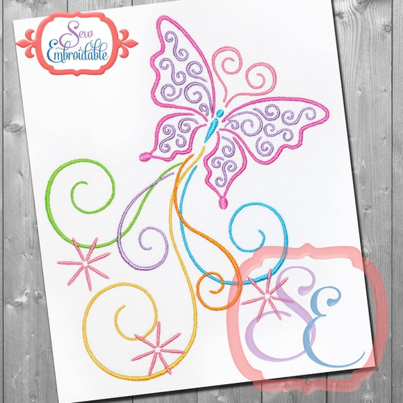 Flutterbies Embroidery Design