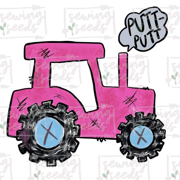 Pink Tractor with PUTT-PUTT PNG-Embroidery Boutique